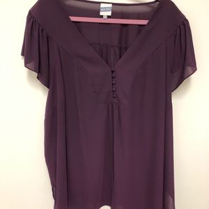 Plum Flutter Sleeve Dress Blouse 4X